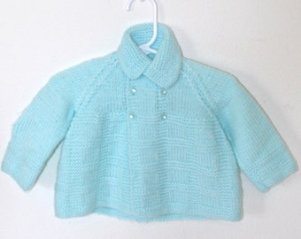 1950s 60s Baby Boy's Knit Sweater . Vintage Aqua Blue Crocheted Babies Double Breasted Cardigan . Cardy Jumper . 0 to 3 Months