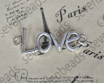 10pcs Love Charm Connectors Antique Silver Tone ,Connector pendant,metal finding,Charms findings beads