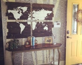 Decorative Map, World Map, Cedar Plank Wood Map of the World, Map, Giant 48x36, Earth, 4 Piece Home Decor, Handpainted