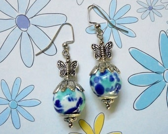 Blue, Aqua, White and Silver Butterfly Earrings (2803)