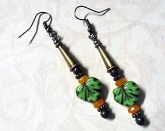 Green, Brown and GoldenYellow Leaf Earrings (3096)