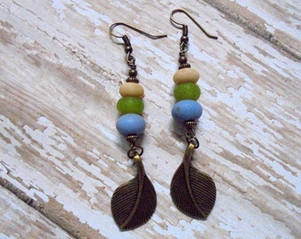 Rustic Cream, Green and Cornflower Blue Leaf Earrings (2447)