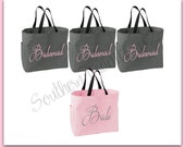 Bridesmaid Gift - Monogrammed Tote Bag - Bridesmaid Tote - Set of 4