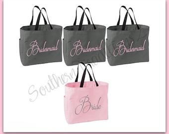 Bridesmaid Tote Bag - Monogram Tote Bag - Bride Tote - Set of 4