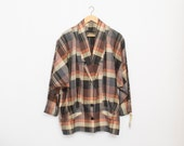 plaid 80s jacket NOS vintage brown