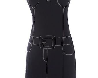 Moschino Jeans Black Vintage Embellished Shirt Dress SZ.14 RARE!!!