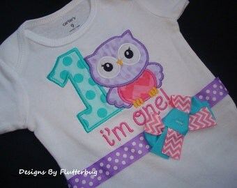 1ST BIRTHDAY Onesie - Owl Birthday- Personalized Onesie -1st Birthday Shirt -Appliqued Number one and Owl in Purple, Turquoise and Pink