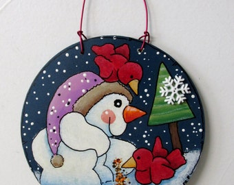 Cardinals and Snowman, Winter Scene Ornament, Christmas Ornament, Round Wood Ornament, Tole or Hand Painted, Neighbor or Teacher Gift