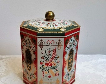 Vintage Tin With Hearts Folk Art Designs In Gold Red Green White Made in Western Germany, Metal Container Octagon Storage Box