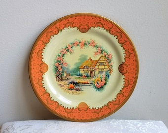 Vintage English Cottage Garden Tin Plate by Baret Ware England, Round Metal Decorative Tray, Coral Blue Pink Cream Gold