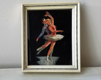 Vintage Ice Skaters Skating Wall Art Print in Cream Wood Frame, Mid Century Man Woman Pair Couple