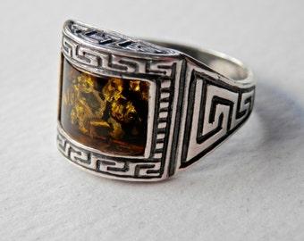 Baltic Amber Ring, Greek Key, Vintage Amber Ring, Green Amber, Sterling Silver Amber, Size 6.5 Ring