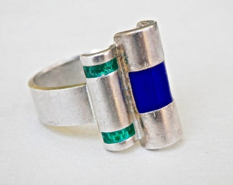 Modernist Silver Ring Blue Enamel Green Enamel Size 7.5 Ring Adjustable Ring Signed Jewelry Art Deco Style European Jewelry