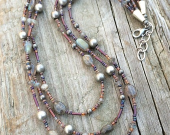 Multi strand necklace, labradorite necklace, boho jewelry necklace, labradorite jewelry, necklace, beaded necklace, gift for her