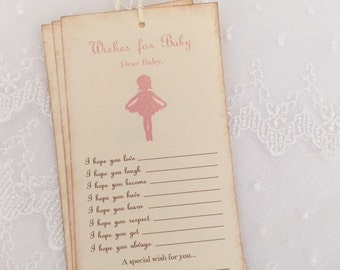 Ballerina Wish Tree Tags Baby Shower Wishing Tree Fill in Blank Set of 10