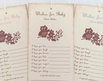 Dear Baby Owl Wish Tree Tags Baby Shower Wishing Tree