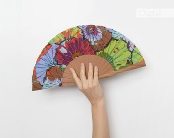 Purple green mustard anemone hand fan - caribbean cruise beach pareo accessory - 50th birthday celebration gift - collectible fan