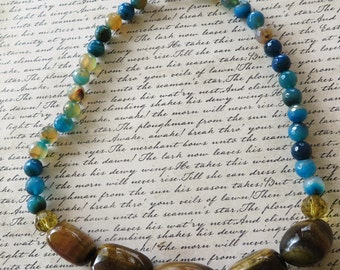 Tigers Eye Nugget And Blue Striped Agate Beaded Necklace