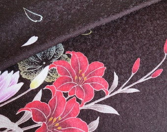 Japanese pure silk Brown Lily design 7-10
