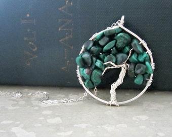 Stone Tree Pendant, Tree of Life, Tree Pendant, Sterling Necklace, Malachite Pendant, Small Tree Pendant, Green Tree Pendant, Natural Stone