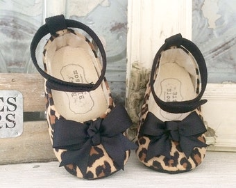 Leopard Print Baby Girl Shoes, Ankle Strap Baby Shoes, Black Toddler Girl Shoes, Soft Soled Shoes, Animal Print Baby Shoes- Libby