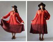 Gauzy Indian Cotton Ombre Dress- Red, Tent Hippie, Festival Coachella Stevie Nicks style, peacock dress