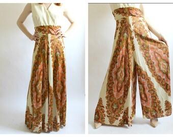 1970s Palazzo Jumpsuit- M, Wideleg Romper Onesie, Hippie Boho Chic Statement Outfit LOT 2