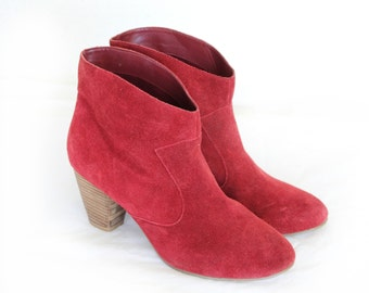 Dorothy, Vintage Red Suede Ankle Boots From Paris