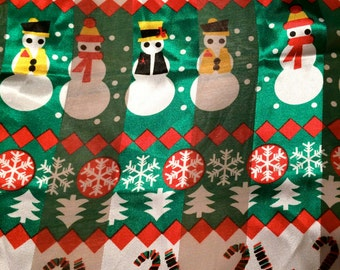 Whimsical Snowman Snowflakes Christmas Holidays Xmas Long Scarf Green Red Golden
