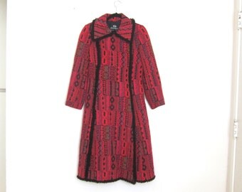 1970s Tapestry Fuchsia Coat Asymmetrical Dress Duster Ladies Size S