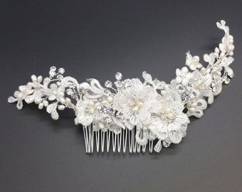 Ivory lace headpiece with pearls and crystals