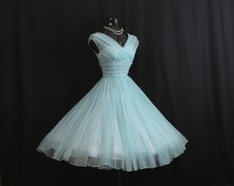 Vintage 1950's 50s Turquoise Blue Ruched CHIFFON Organza Party Prom Wedding Dress