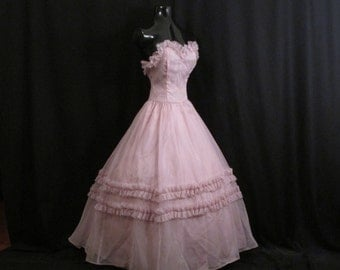 Vintage 1950's 50s Bombshell STRAPLESS Lavender Lilac Tulle Party Prom Wedding Bridal Dress Gown Shrug