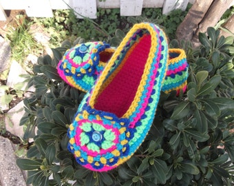 Oriental Crochet Home Slippers, Women Slippers, House Shoes, Indoor Slippers, Gifts for Her