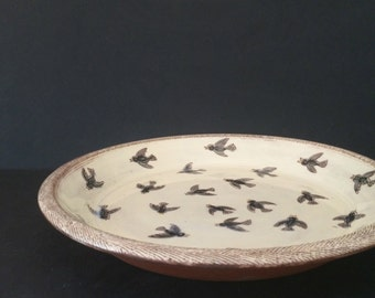 MADE TO ORDER // 24 Black Birds Pie Dish // Handmade Terracotta Baking Dish // handcrafted ceramics for the home