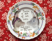 "Bright Floral ""You're a Bit Of An Ass"" Donkey Couple Vintage Illustrated Valentines Day Plate"