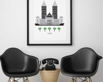 Lund, Sweden, city, Art print, Scandinavian design, modern poster