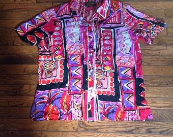 Vintage Bob Mackie Wearable Art Shirt Cat Fish Sz L