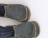 Slippers with Leather Sole in mouse grey (dark or light) and touch of green - above the ankle - all adult shoe sizes US 4-12 EUR 35-46