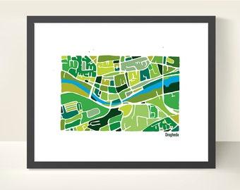 Drogheda Ireland Map Print - original illustration