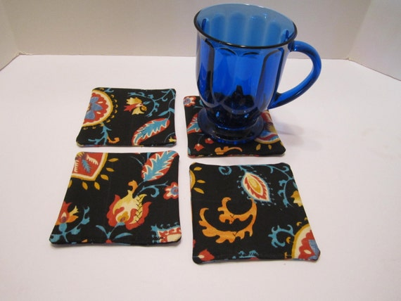 Fabric Drink Coasters - Multi Colors on Black, Rust, Terra Cotta, Orange, Turquoise, Teal, Yellow, White - Set of 4