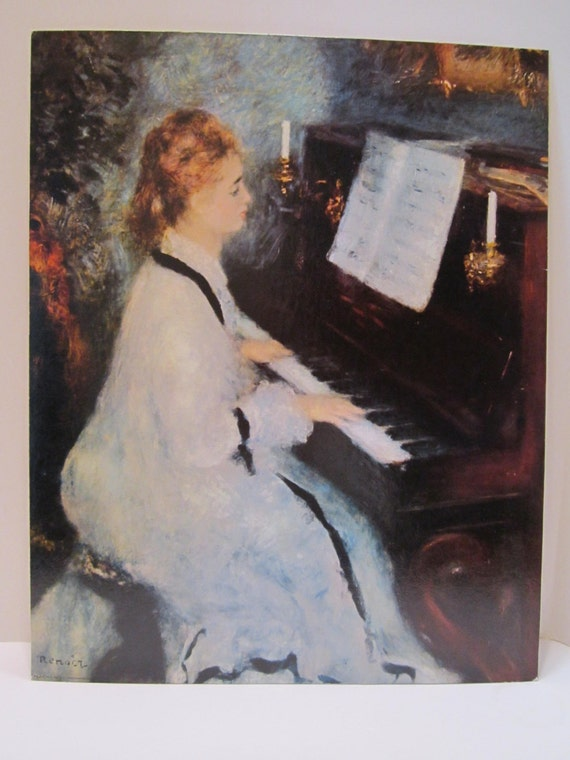 Renoir Lithograph on Mat Board by Pierre Auguste Renoir titled Lady at the Piano