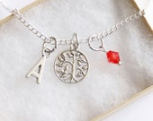 Tree of Life Necklace Silver Plated, Personalized Initial Necklace, Birthstone Acrylic Color, Dainty Necklace, Family Tree, Nature Necklace