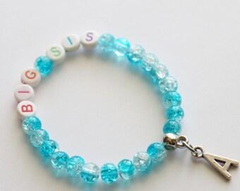 Big Sister Bracelet Stretchy, Girl Bracelet, Personalized Initial Girl Gift, Crystal Ball Beads, Sister Gift, Big Sister Bracelet