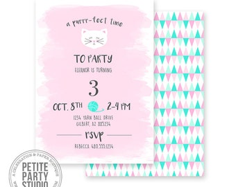 Kitty Cat Printable Party Invitation | Birthday or Baby Shower | Petite Party Studio