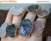 VALENTINES SALE LUX Divine Medium Druzy Stackable Gemstone Gold Ring