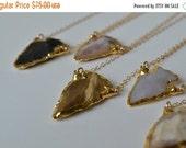 VALENTINES SALE BABY Arrows /// Electroformed Gemstone Arrowhead /// Gold