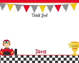 Race Car Birthday Party Thank you note