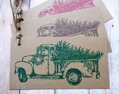 Christmas Tags Rustic Country Christmas Tree and Pick-Up Truck