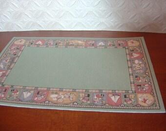 Dollhouse rug pink green terra cotta nursery child's room 1:12 scale